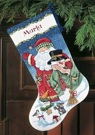 santa and snowman cross stitch christmas stocking kit