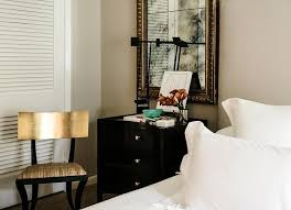 black and gold klismos chair transitional bedroom