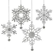 buy set of 4 silver hammered metal style snowflake with jingle