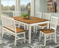 Dining Room With Bench Seating Dining Table With Slat Back Bench U0026 Slat Back Side Chairs By