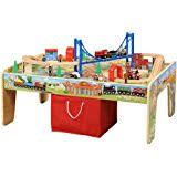 thomas the tank activity table amazon com maxim railroad wooden activity table with 50 pc train