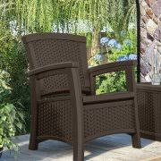 Patio Club Chair Suncast Elements Resin Patio Storage Club Chair Java Walmart