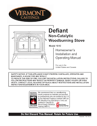 Fireplace Installation Instructions by Vermont Casting 1610 User Manual 40 Pages