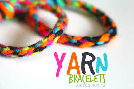 yarn bracelets a and a glue gun