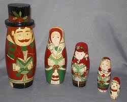 christmas carolers russian nesting dolls with dog in x sold gallery