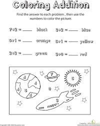 coloring addition space scene worksheets 1st grades and coloring