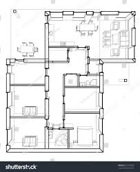 House Architecture Drawing Architectural Drawings Plan House Stock Vector 324790076
