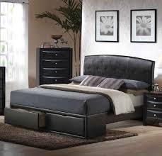elegant bedroom with black leather bed frame bedding set queen