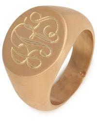 Monogram Signet Rings Baublebar Monogram Signet Ring In Metallic Lyst