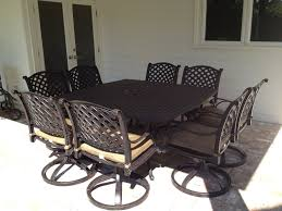 Nassau Outdoor Furniture by Nassau Cast Aluminum Powder Coated 8 Person Patio Dining Set With