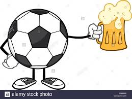 beer cartoon soccer ball cartoon mascot character holding a beer glass stock