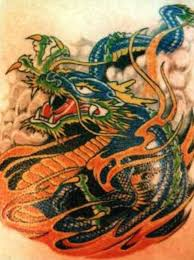breathtaking chinese dragon tattoos flames blue color skin red
