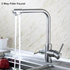 Kitchen Filter Faucet Triflow Sus304 Stainless Steel Filter Faucet Lead Free Drinking