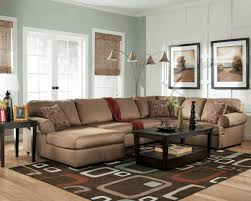 greenish gray light brown sectional sofa rectangular dark brown two tiered
