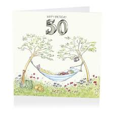 hammock happy 50th birthday card karenza paperie