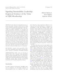 signaling sustainability leadership empirical evidence of the
