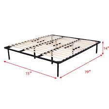 Metal Bed Frame With Wooden Slats Costway Rakuten Costway Wood Slats Metal Bed Frame Platform