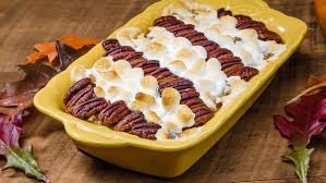 sweet potato casserole with pecans and marshmallows wide open eats