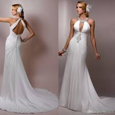 column wedding dresses 2018 chiffon flowing halter neck backless sleeveless
