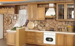 Kitchen Wallpaper Backsplash Brown Wallpaper Wooden Cabinets White Oven And Vent Hood Kitchen