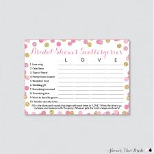 bridal shower scattergories game in pink and gold glitter