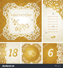 Wedding Invitation Empty Cards Vintage Greeting Cards Floral Motifs East Stock Vector 161678162
