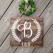 newlywed gift initial sign last name wood sign monogram sign newlywed gift