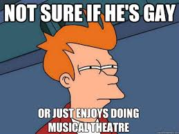 Musical Meme - not sure if he s gay or just enjoys doing musical theatre