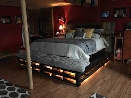 Pallet Bedroom Furniture Bedroom King Size Raised Pallet Bed With Light Having White And