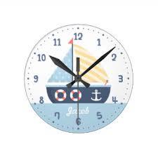 themed wall clock nautical theme wall clocks zazzle