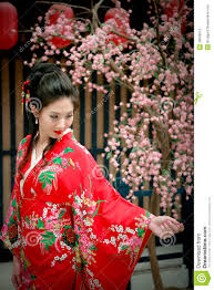portrait of young beautiful in red kimono stock image image