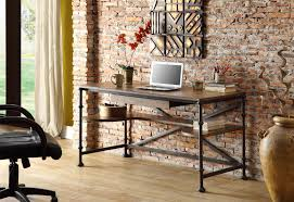 rectangular writing desk with lower shelving by riverside