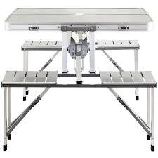 aluminum portable folding picnic table with 4 seats camp