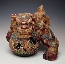 kutani shishi antique japanese temple dog statue kutani moriage foo shishi