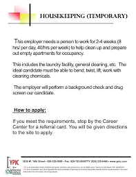 Cleaning Resume Housekeeper Job Description Example 14 Free Word Pdf Documents