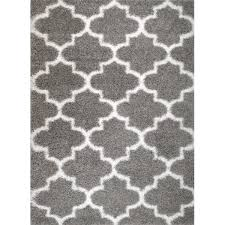 rug and decor inc supreme shag royal trellis gray white area rug