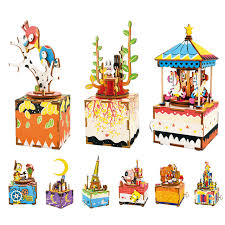 3d puzzle wooden multi color music box diy present home decor