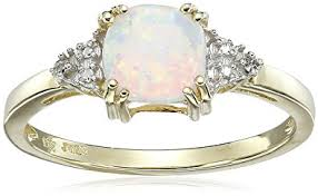 birthstone rings for 10k yellow gold created opal and diamond ring opal