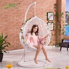Bedroom Swings Round Egg Shape Outdoor Indoor Bedroom Wicker Rattan Hanging Swing