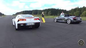 corvette vs audi r8 chevrolet corvette stingray z51 vs audi r8 v10 tfsi drag race