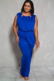 plus jumpsuit royal blue sleeveless casual plus size jumpsuit