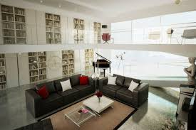 White And Black Sofa Set by Alluring Black White Red High Ceiling Living Room With Mezzanine