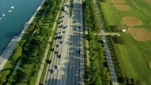 Aerial chicago america freeway highway car railroad houses