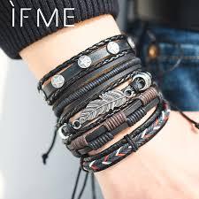 bracelet style images Leaf multilayer leather bracelets for men fashion style shoprandy jpg
