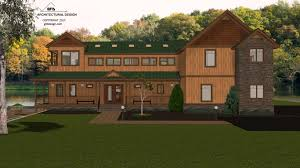 mountain lake house concept home design 3d