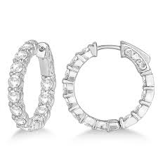 small white gold hoop earrings prong set small diamond hoop earrings 14k white gold 3 70ct allurez