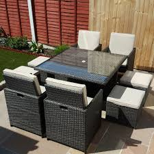 9 piece rattan garden furniture cube set table with 4 chairs u0026 4