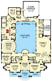 Corner House Floor Plans Plan 36186tx Luxury With Central Courtyard Sitting Area Pantry