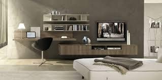 coin bureau design coin bureau en bois massif murs gris taupe meuble télé en bois