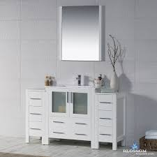 Bathroom Vanity With Side Cabinet 54 Glossy White Vanity Side Cabinets